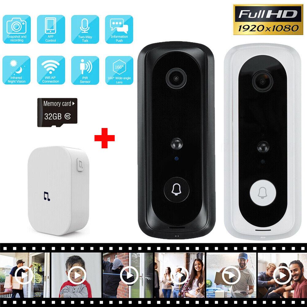 1080P Smart Video Doorbell WiFi Wireless Intercom Door Ring Camera Bell Security