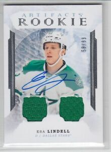 2016-17-UD-ARTIFACTS-ESA-LINDELL-RC-AUTO-DUAL-JERSEY-99-ROOKIE-173-SILVER-Star