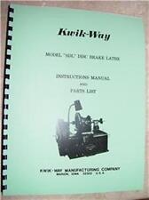 Kwik Way Model Sdl Brake Lathe Instruction And Parts Manual