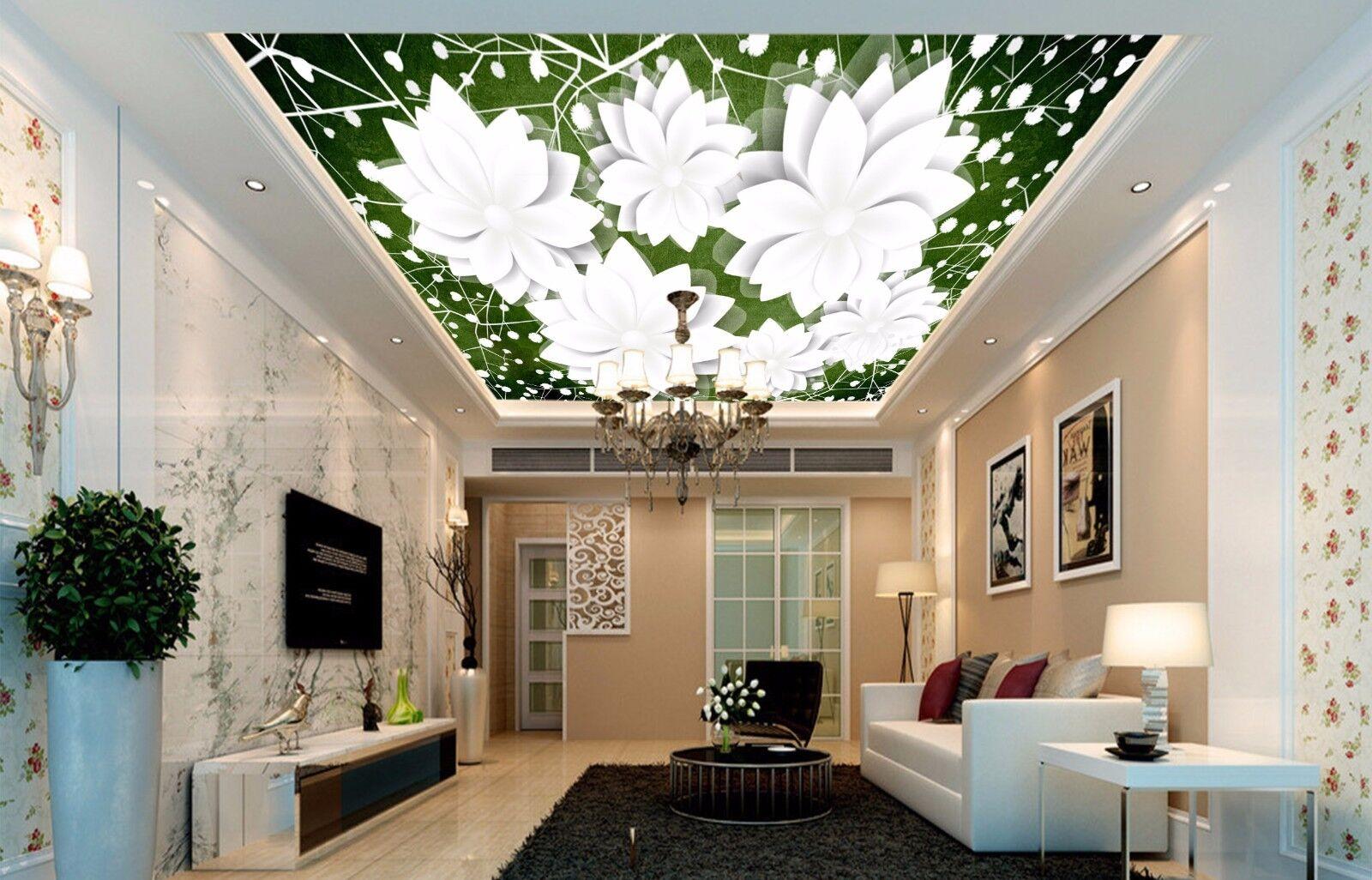 3D Weiß Lotus 743 Ceiling WallPaper Murals Wall Print Decal Deco AJ WALLPAPER