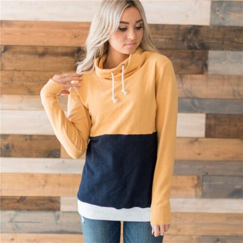 Women/'s Patchwork Cowl Neck Loose Tops Sweatshirt Casual Baggy Hoodie Sport Tops