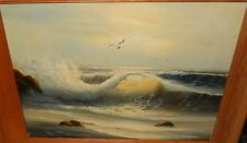 R.BARTON OCEAN WAVE AND BIRDS ORIGINAL OIL ON CANVAS SEASCAPE PAINTING
