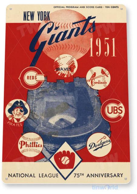 TIN SIGN New York Giants Program Tin Metal Sign Team Baseball Sports B184