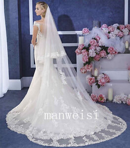 2T-Wedding-Veil-Lace-Edge-3M-Long-Cathedral-Length-White-Ivory-Bridal-Veil-Comb