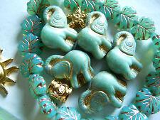 5Stk. Grosse türkisgrüne Opak Elefanten-Perlen m.Goldfinish -20x21mm