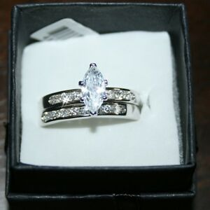 Marquise-Diamond-Alternatives-Wedding-Band-Promise-Ring-14k-White-Gold-over-Base