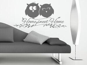 Wandtattoo-Wandsticker-Sprueche-Home-Sweet-Home-Eule-Wohnzimmer-Flur-Aufkleber