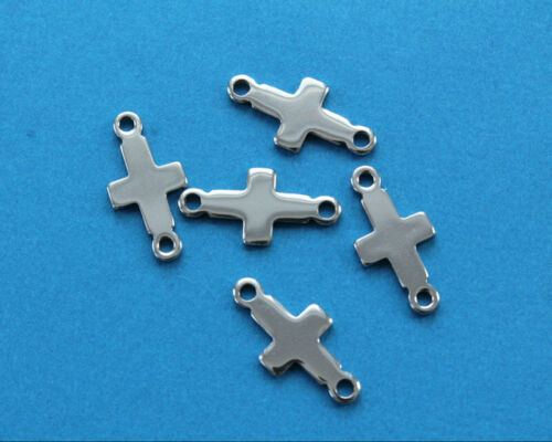 5 Stainless Steel Cross Connectors Hypoallergenic Stamping Blanks MT184