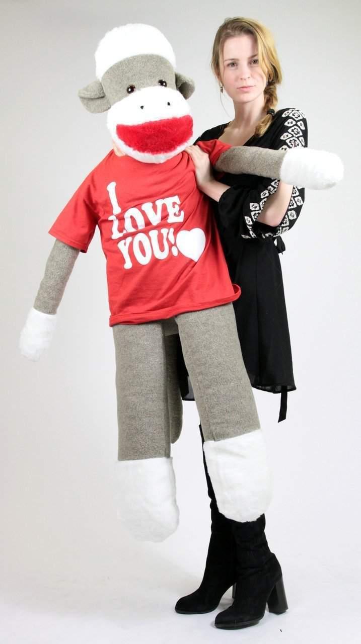 Peluche Grande Gigante Calcetín Mono 137cm Suave Luce i Love You Tshirt Made In