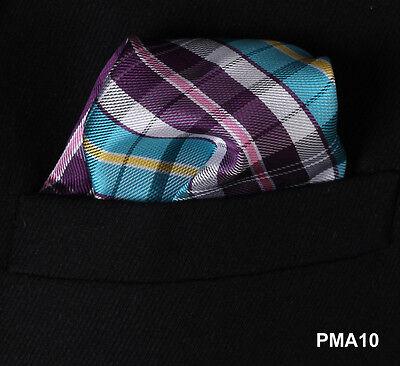 PMA Check Floral Men Silk Satin Pocket Square Hanky Wedding Party Handkerchief