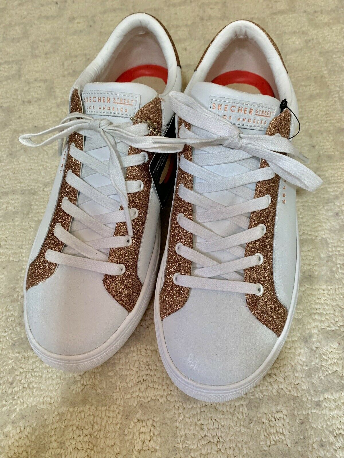 super popular dcb89 ea287 Skechers Street Rise Fit NWT White gold SparkleLeather Lace ...