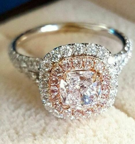 Certified 2.3ct White Cushion Diamond Double Halo Engagement Ring 14K White gold