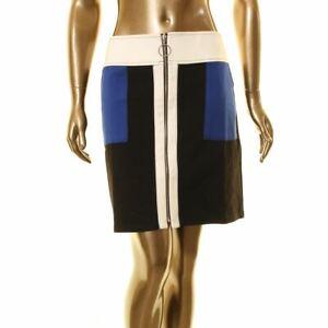 INC-NEW-Women-039-s-Black-pink-white-Colorblock-Zip-Front-Mini-A-Line-Skirt-XL-TEDO