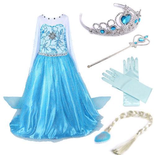 Girls Kids Frozen Dresses Elsa anna Cosplay costume Princess party dresses+4PCS