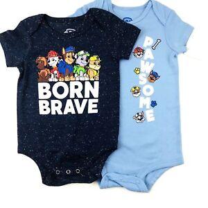 Paw Patrol Lot of 2 Baby Boy Bodysuit NWT 3-6 6-9  18 Month Born Brave Pawsome