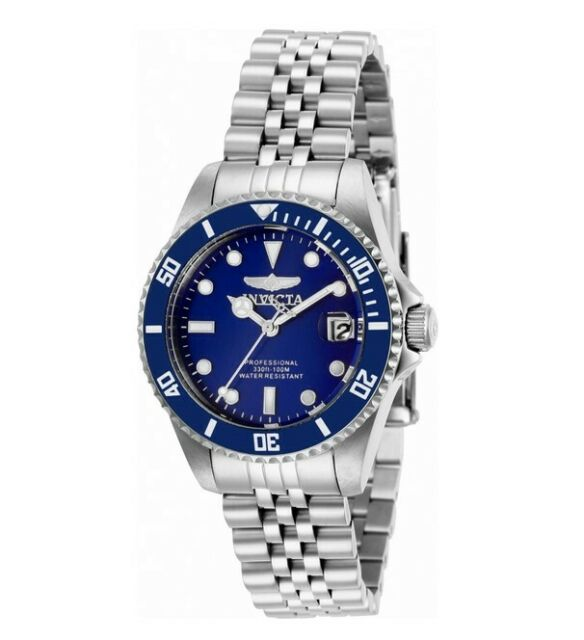 Invicta Women's Watch Pro Diver Quartz Blue Dial Stainless Steel Bracelet 29187