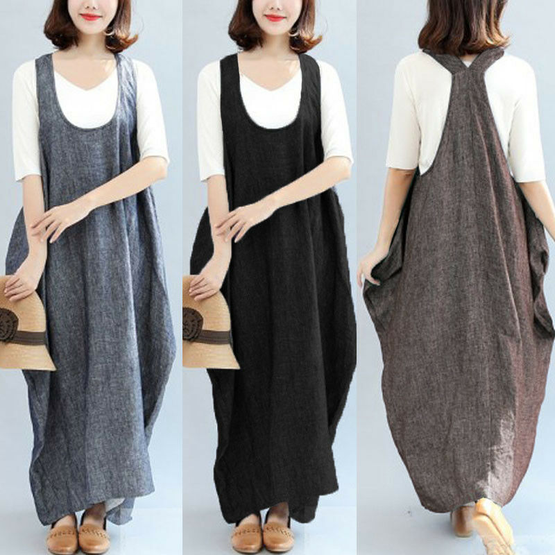 US STOCK ZANZEA Women Sleeveless Loose Suspender Skirt Casual Long Straps Dress