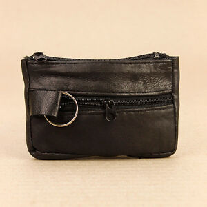 Handy-Soft-Black-Faux-Leather-Zip-Key-Case-Holder-Coin-Purse-Keyring-3-Sections