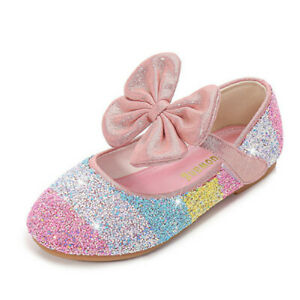 UK GIRLS CHILDRENS KIDS FLAT GLITTER BRIDAL PARTY SHOES BRIDESMAID SANDALS SIZE