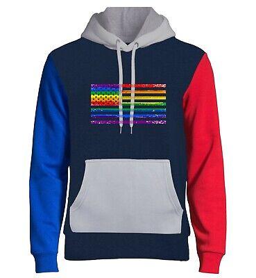Men/'s Rainbow Gay Symbol White Raglan Hoodie LGBT Lesbian Pride Love Equal B770