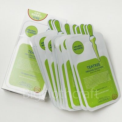 10Pcs MediHeal Teatree Care Solution Essential Mask EX Mask Pack Sheets