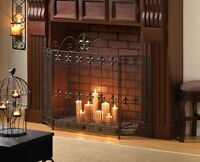 French Revival Fireplace Screen Fleur De Lis Embellished Iron New10015400