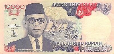 Coins & Paper Money Indonesia 10,000 Rupiah 1992/95 P 13d Series Ljs Circulated Banknote Red Asia