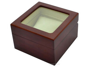 New-Classic-Wooden-Watch-Box-Case-for-1-Wristwatch-with-Glass-Window-Lid-Brown