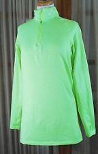 Nike Pro Combat Compression Shirt Womens XL NEON GREEN VISIBLE Thumb Hole Fleece