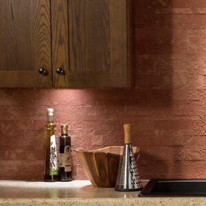 Peel And Stick Tile Self Adhesive Stone Wall Bath Kitchen Backsplash Red Brown Ebay