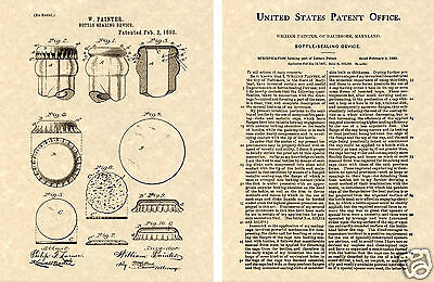 1st Bottle Cap US Patent Art Print READY TO FRAME!!!! William Painter Beer Soda