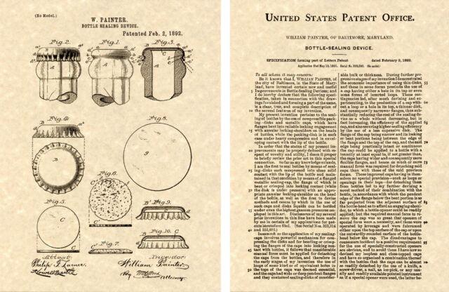 1st Bottle Cap US Patent Art Print Ready to Frame William Painter ...