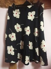 Minuet Black Silk/cotton Blend Floral Skirt Size 18 (waist 36 Inches)