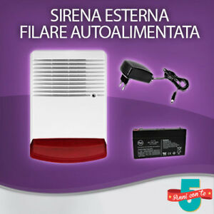 SIRENA-ESTERNA-AUTOALIMENTATA-FILARE-LAMPEGGIANTE-ANTIFURTO-ALLARME-BATTERIA