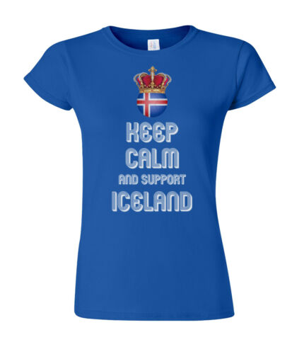 Ladies T-Shirt KEEP CALM /& Support ICELAND Football World Cup 2018
