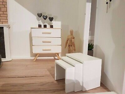 1//6 scale doll size wooden white fireplace for barbie dolls