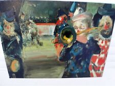 "CALOGERO Jean (1922-2001) ""Clowns au cirque ou le trompettiste - Huile s/ isorel"