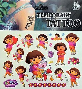 Girls Kids Temporary Tattoos Dora Dora Body Art Removable Waterproof ...