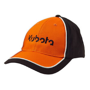 Kubota Branded Twill Cap Black/Orange with Adjustable Strap