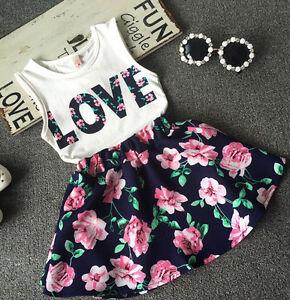 2PCS-Toddler-Kids-Baby-Girls-T-Shirt-Tops-Floral-Sleeveless-Skirt-Dress-Clothes