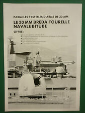 10/1988 PUB BREDA BRESCIA ITALY 30 MM TOURELLE NAVALE BITUBE NAVIES ORIGINAL AD