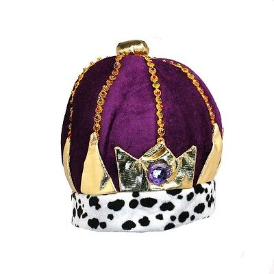 Mens King Crown Royalty Hat Adult Jeweled Costume Cap King PLUSH Halloween NEW