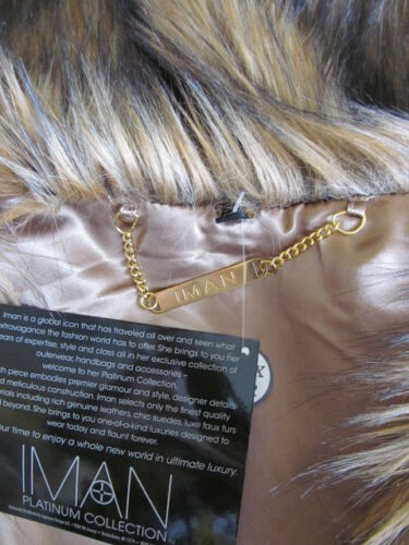Fur Ermeløs Nwt Størrelse Mix Iman L Brown Faux Fuzzy Vest wTIIBaq