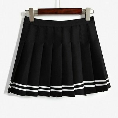 Women Lady Tennis High Waist Plain Skater Flared Pleated Short Mini Skirt Shorts