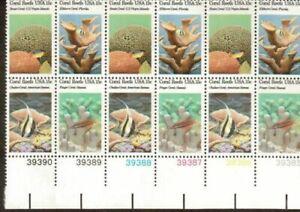 Scott 1827-30 - récifs coralliens plaque bloc de 12 (15 cent) TIMBRES-ORIGINAL GUM-Jamais à charnière-Comme neuf