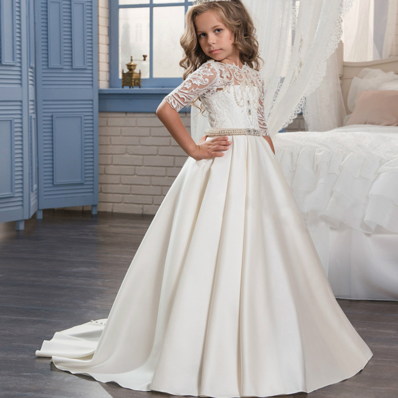 Abao Children Flower Girls Embroidered Lace Pearl Wedding Ball Gown Dress O35 MG