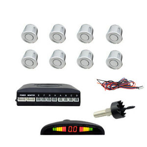 8 sensoren display r ckparkhilfe r ckfahrwarner parksystem einparkhilfe silver ebay. Black Bedroom Furniture Sets. Home Design Ideas