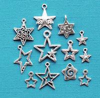 Stars Charm Collection 12 Tibetan Silver Tone Charms Free Shipping E104