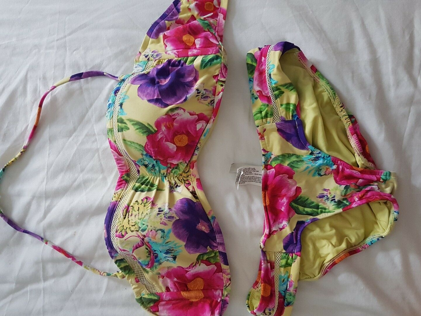 Sea folly yellow bikini bra size 12 brief size 8 worn once only