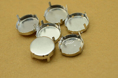 40 PCS 25mm Glass Round Jewels's Settings For Sewing On